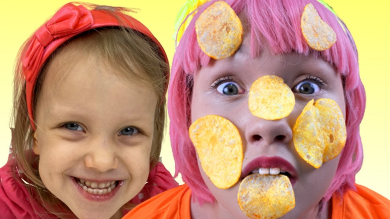 Kids play funny game Chips on the face | 어린이 동영상 | Alex and Nastya