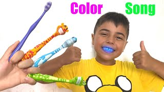 Guka and Maria pretend to play with Toothbrusher | Color Song and Brush your teeth song