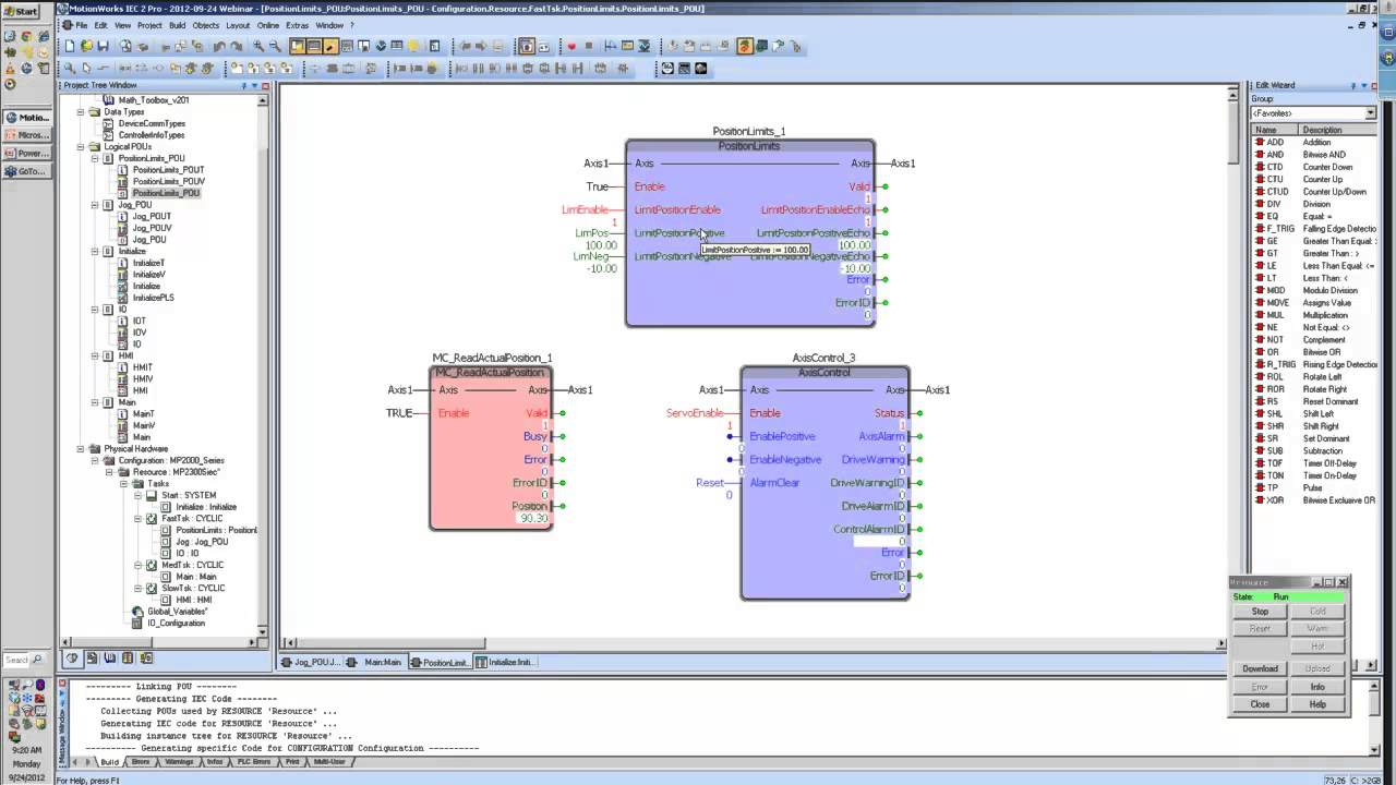 PLCopen Toolbox - Position Limits