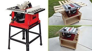 How to make a DIY Table Saw Stand / Cart with Storage, Dust Collection, Folding Outfeed & Wheels
