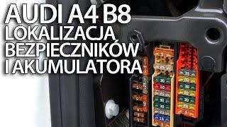gdzie są bezpieczniki i akumulator w audi a4 b8 przekaźniki plus akumulatora