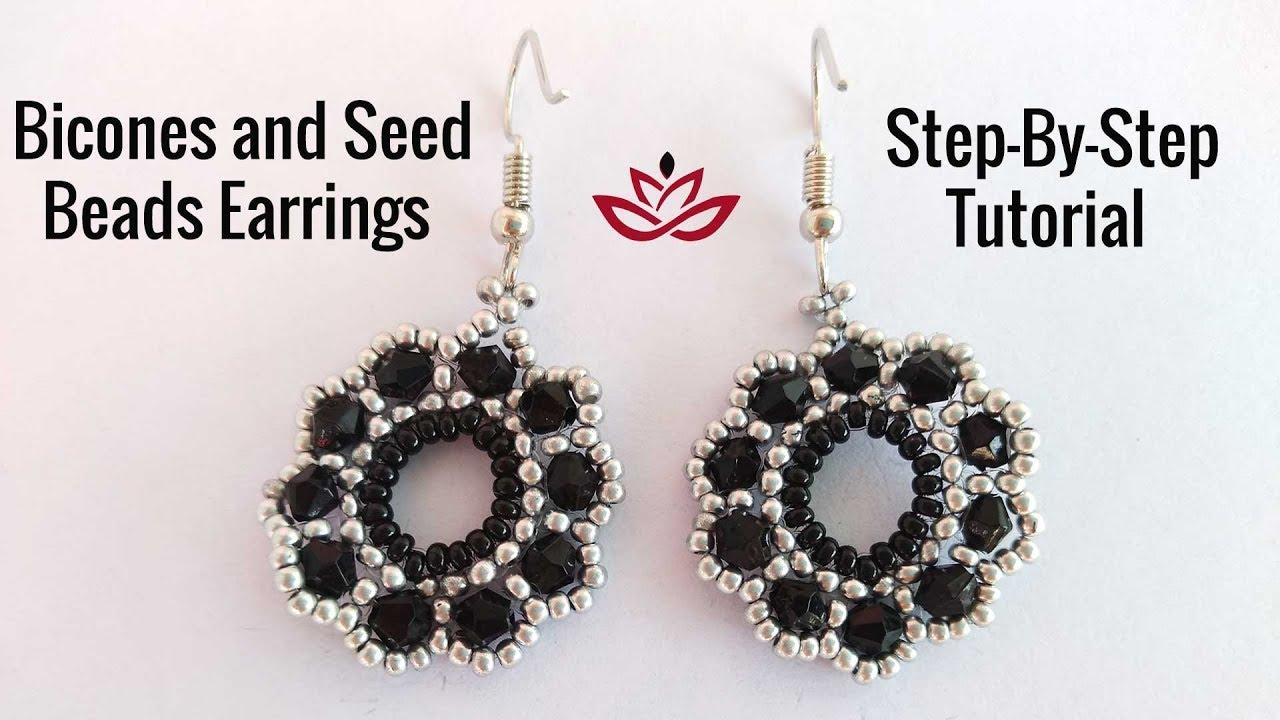 Bicones And Seed Beads Earrings Tutorial How To Make Diy Beaded Earrings