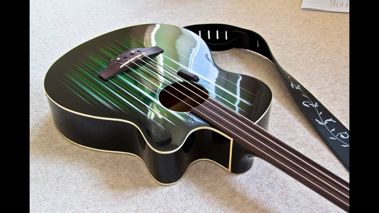 Fretless Electro Acoustic Bass Conversion Custom Paint Job