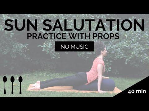 sun salutation practice with props — sleepy santosha