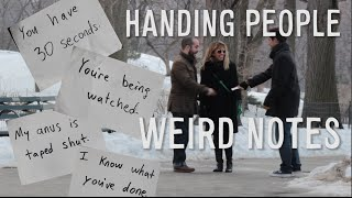 HANDING PEOPLE CREEPY NOTES Prank!
