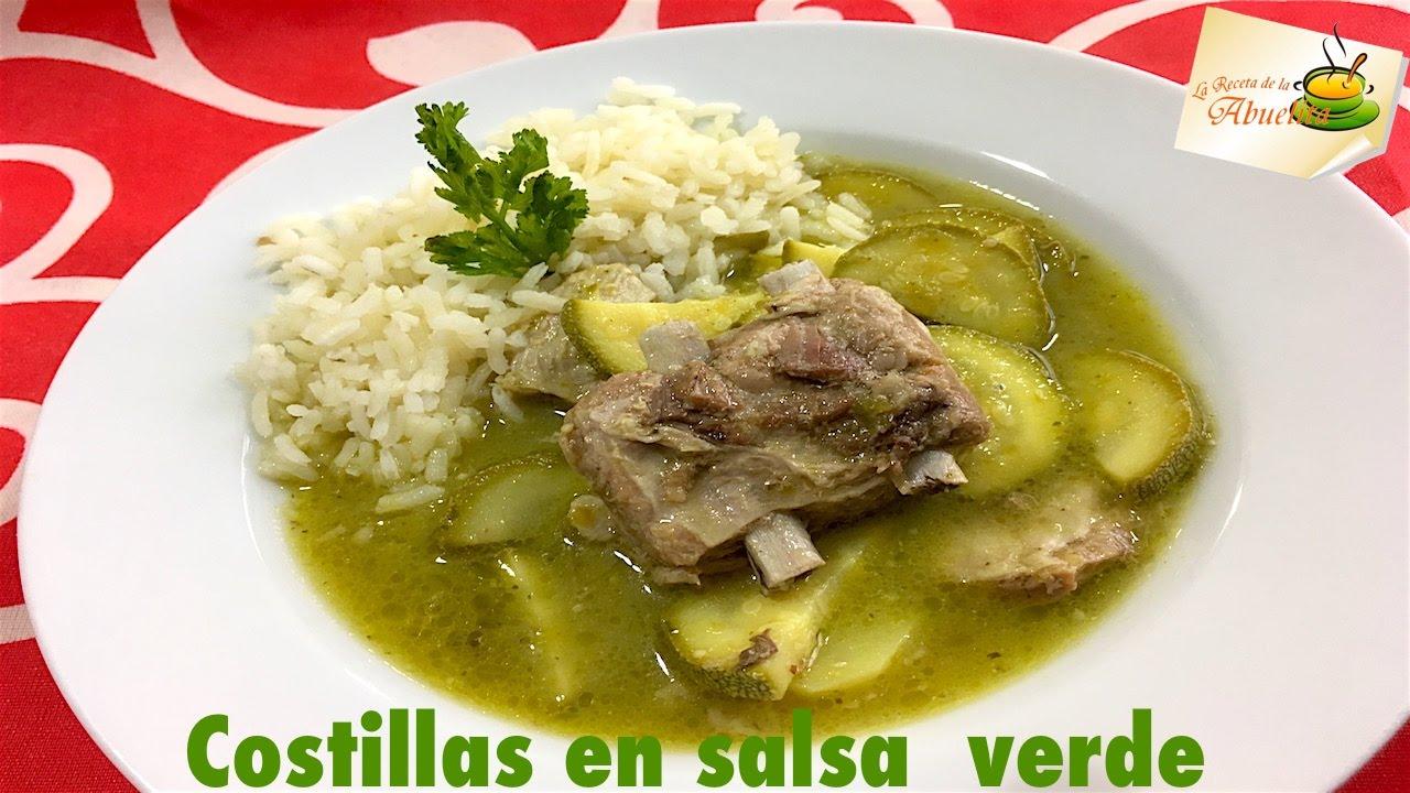 Costillas en salsa verde con calabacitas - recetas de guisados - YouTube
