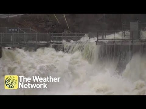 RAW: Visuals of angry river in Bracebridge, ON due to flooding