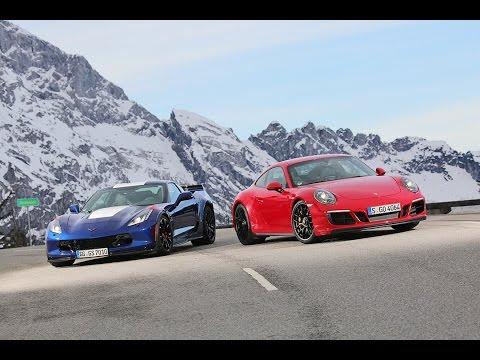 Porsche 911 Carrera GTS vs Corvette Grand Sport Track Battle sport auto