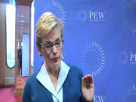 Gov. Jennifer M. Granholm in Ohio talking about innovations in renewable energy