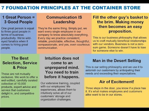7 FOUNDATION PRINCIPLES AT THE CONTAINER STORE via Kip Tindell