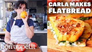 Carla Makes Falafel-Spiced Tomatoes & Chickpeas on Flatbread | From the Test Kitchen | Bon Appétit