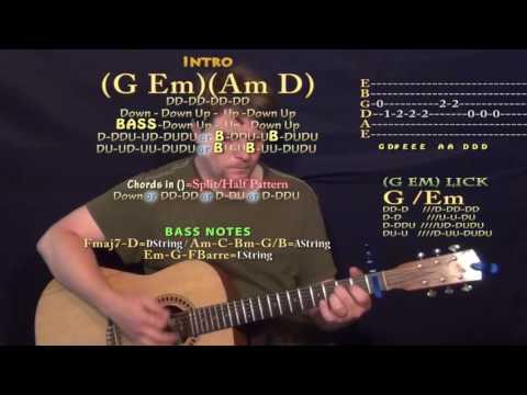 Don't Mind (Kent Jones) Guitar Lesson Chord Chart - Capo 1st - G Em Am D