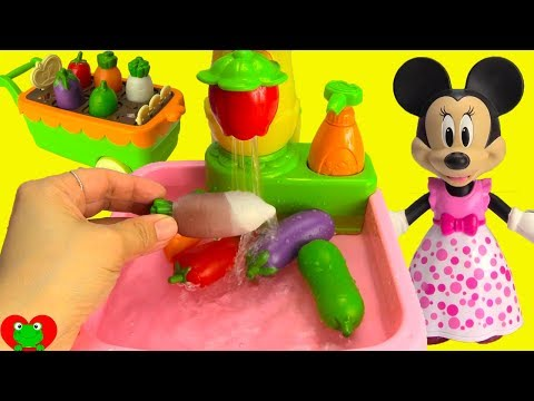 Minnie Mouse Learn Vegetables Gardening, Kitchen Sink, and Cooking