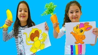 Masal and Öykü with animal pictures painting - Fun Kids Video