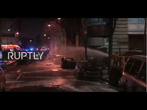 Live from Paris as cars set on fire near Le Parisien headquarters