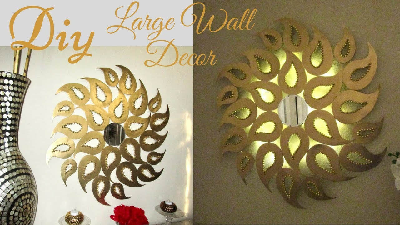Diy Large Wall Decor With Lighting Using Cardboard Youtube