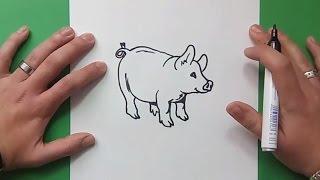 Como dibujar un cerdo paso a paso 6 | How to draw a piglet 6