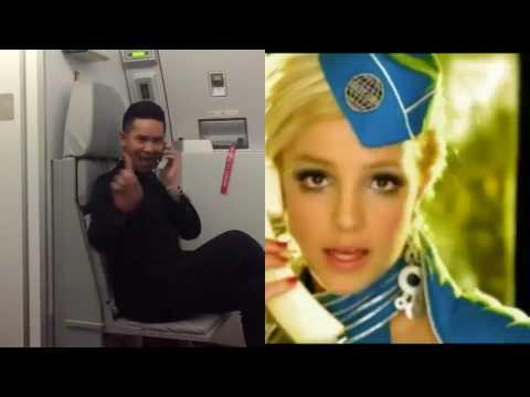 Flight Attendant Recreates Britney Spears Toxic Video (Split Screen)