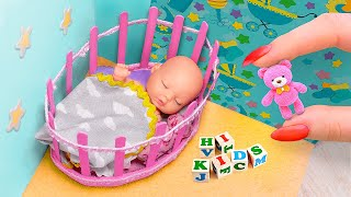 12 DIY Baby Doll Hacks and Crafts / Miniature Baby, Crib, Rattle, and more!