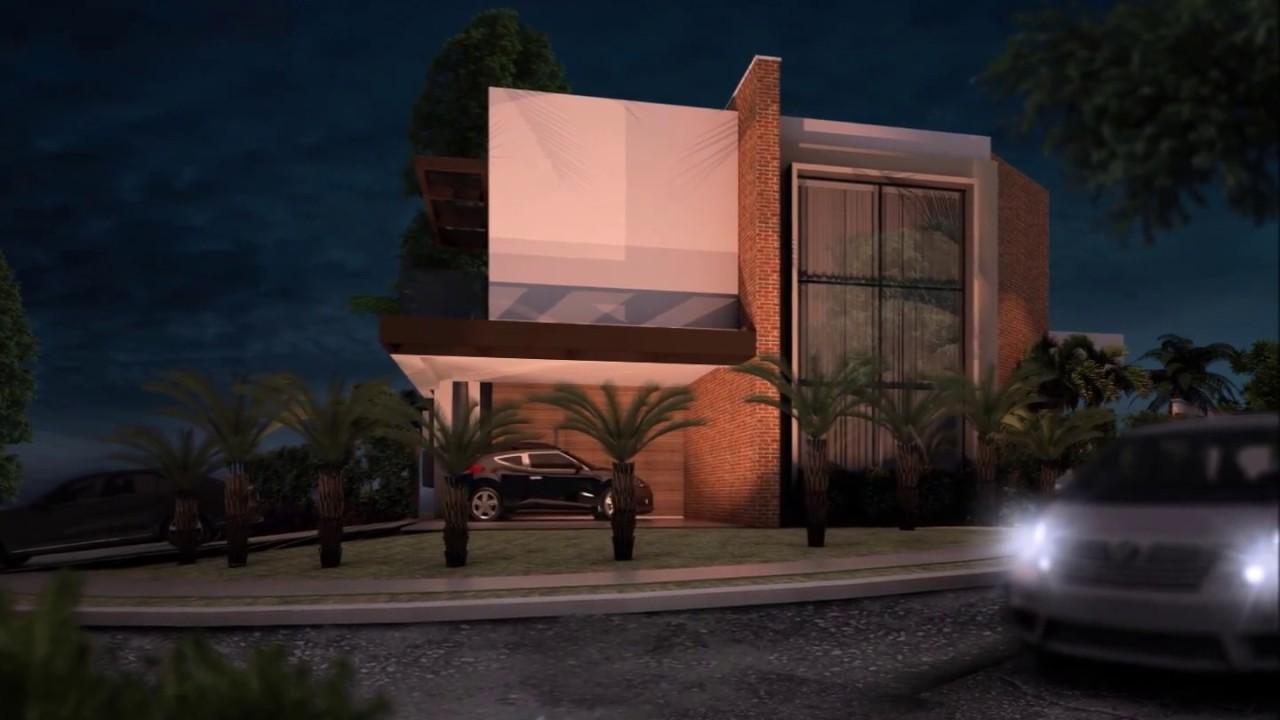 Projeto casa t rrea com mezanino esquina fachada moderna for Casas contemporaneas modernas
