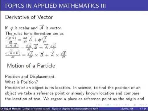 Lecture2: Topics on Applied Mathematics