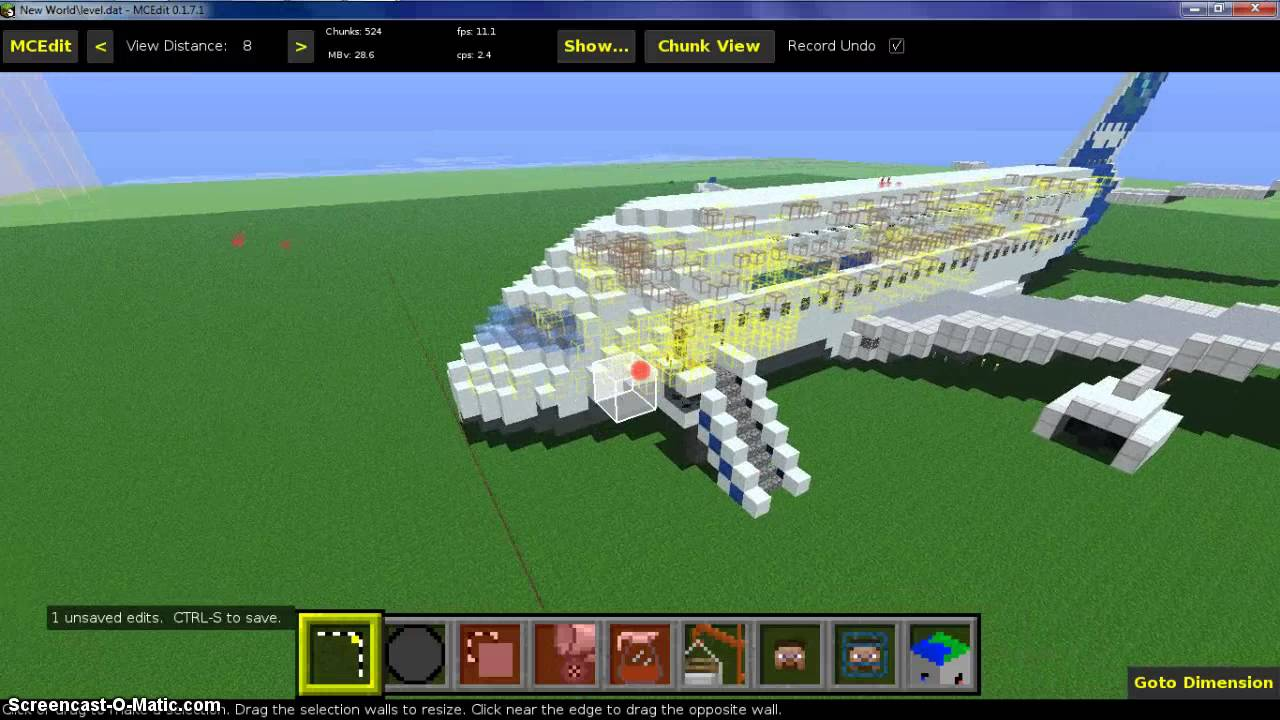 minecraft airplane schematic (download) (mcedit) on