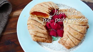 Jam Filled Puff Pastry Crescents