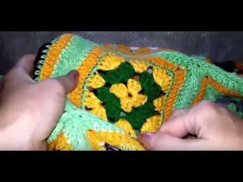 Жилет из бабушкиного квадрата крючком видео