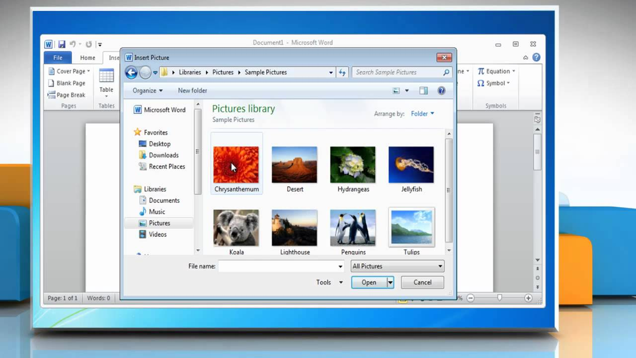 Microsoft   Word 2010: How To Insert A Picture From A File In Windows