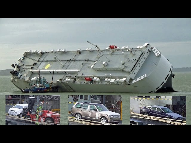 Luxury Cars Being Unloaded From The Salvaged Hoegh Osaka Ship.