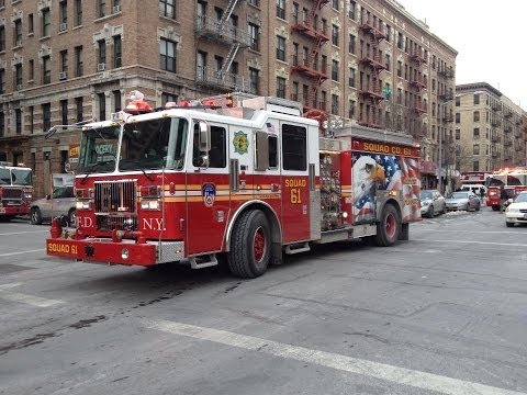 FDNY HD - Brand New Squad 61 at a Harlem Job