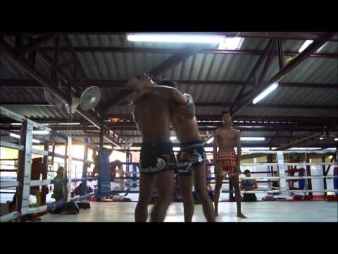 Moo, Beer and Chalamdam clinching, Phuket Muay Thai Rawai