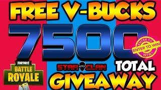 7500 V-BUCKS GIVEAWAY! FORTNITE BATTLE ROYALE! NEW UPDATE!