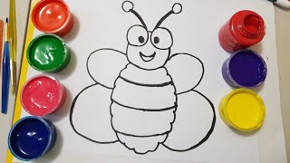learn colors/how to draw  bee for kids /bee painting page for children