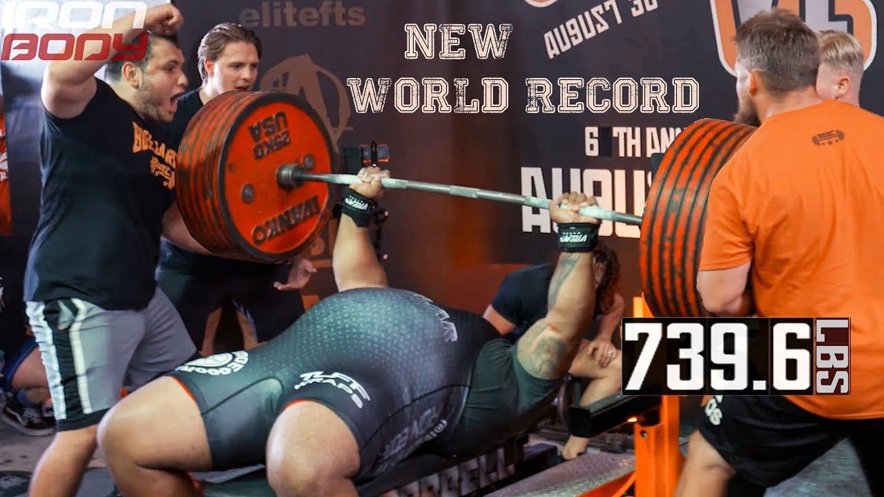 Julius Maddox 739 6 Lbs 335 5 Kg World Record Bench Press 2019 Youtube