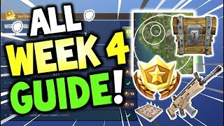 ALL Fortnite WEEK 4 Challenges GUIDE - Treasure Location search Wailing Wood Chests - Season 4