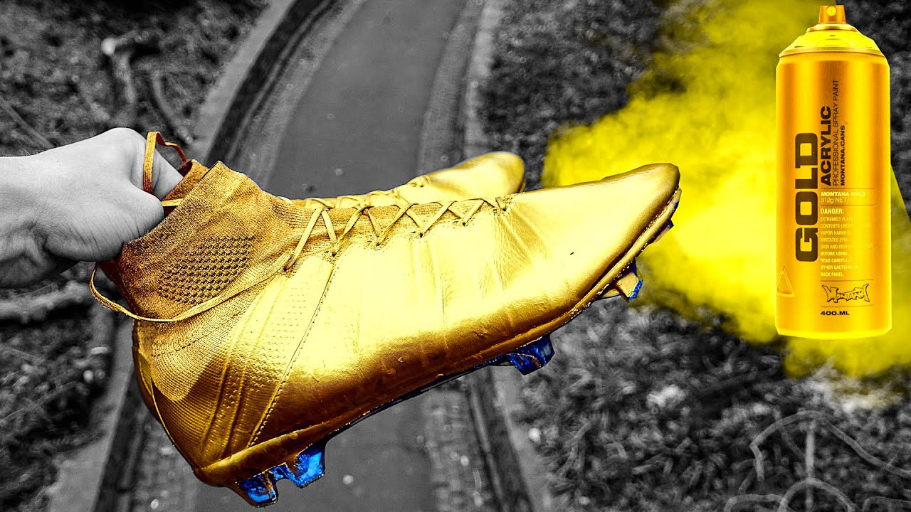Gold Cristiano Ronaldo Boots Fake Spray Painted Nike