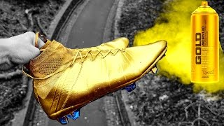 GOLD Cristiano Ronaldo Boots: Spray Painted Nike Mercurial Superfly IV Close Ups by iFootballHD