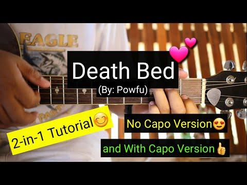 Death Bed - Powfu (No Capo and w/ Capo Guitar Tutorial)