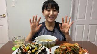 김밥 먹방 우동, 김치