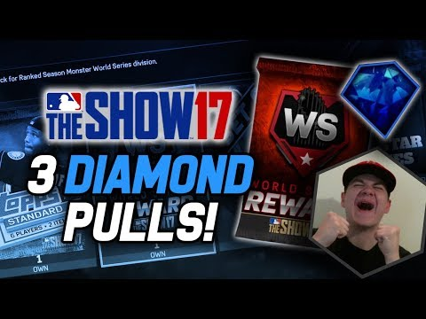 WORLD SERIES & SET 10 PACK OPENING! 3 DIAMONDS! | MLB The Show 17 Pack Opening