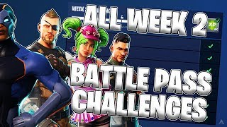 ALL WEEK 2 BATTLE PASS CHALLENGES! (Fortnite Battle Royale Season 4)
