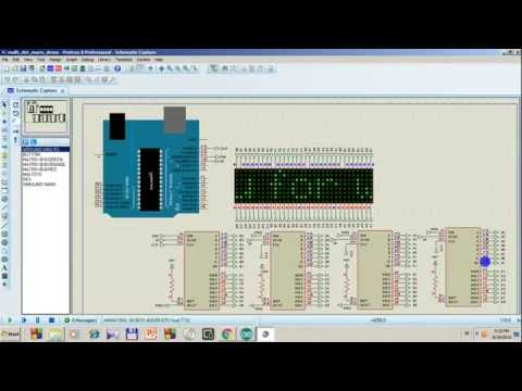 8x8 Dot Matrix LED 4 In 1 Module Simulation with Proteus