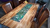 Circuit boards with lights in epoxy in a table