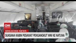 Serba Dilapisi Plastik, Begini Suasana Kabin Pesawat Pengangkut WNI ke Natuna