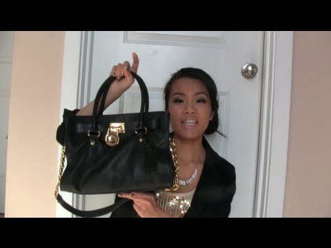 What S In My Purse Michael Kors Hamilton Satchel Youtube