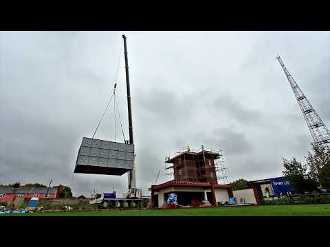 Cadman Cranes - WW2 P.O.W Camp Water Tower - Converted Tank Lift - Liebherr LTM1100-5.2 Mobile Crane