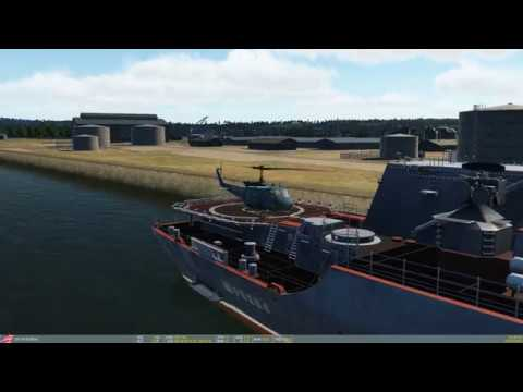DCS World - Normandy 2.1.1 - Cherbourg Port / Shipyard - Huey