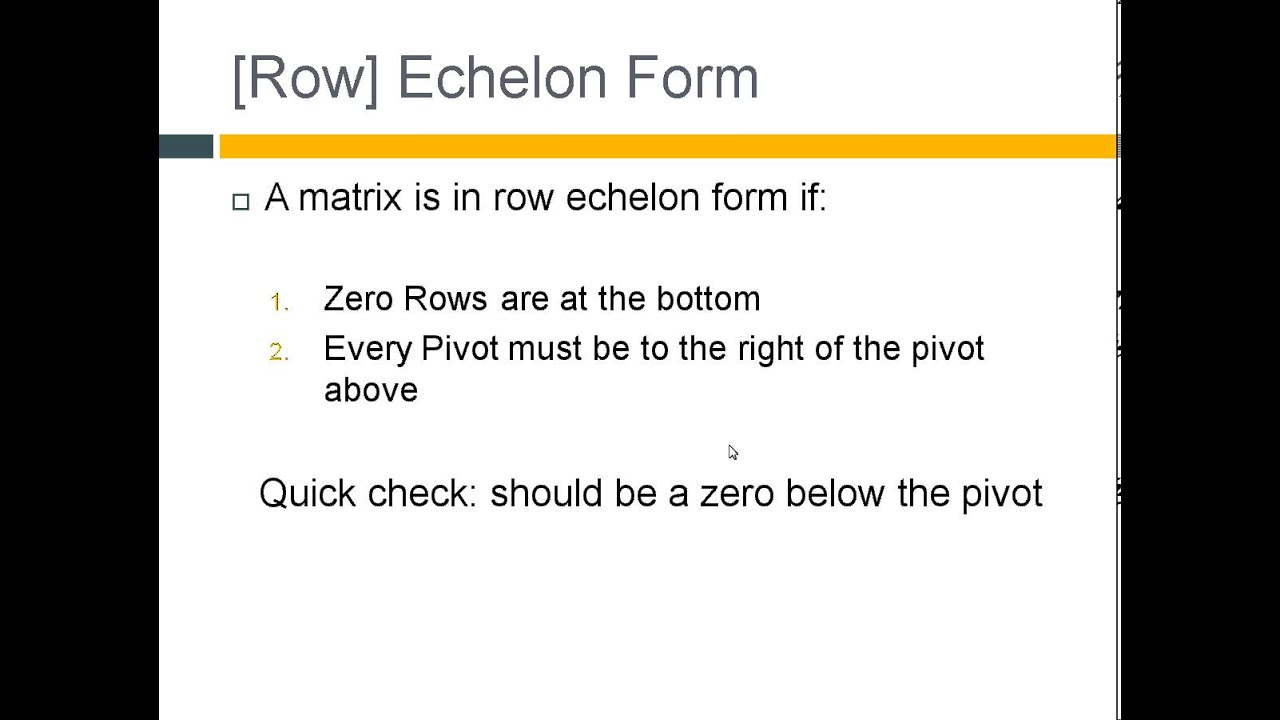 Echelon Form, Pivots, Free Variables and the Rank of A Matrix ...