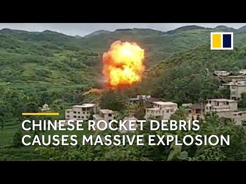 Chinese rocket debris causes massive explosion